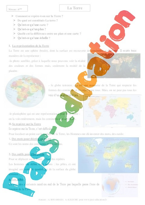 Terre Cours Geographie 6eme Primaire Pass Education