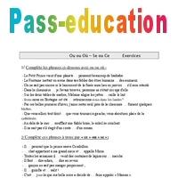 Ou ou Où - Se ou Ce - homophones - Cm1 - Exercices - Orthographe - Cycle 3 - Pass Education