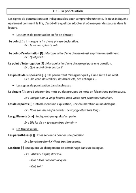 ponctuation - le u00e7on - cm1 - grammaire - cycle 3