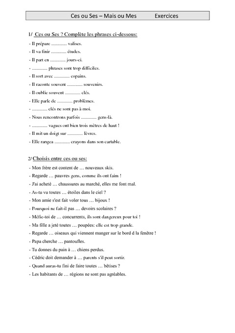 Ces ou Ses - Mais ou Mes - homophones - Cm1 - Exercices - Orthographe - Cycle 3 - Pass Education