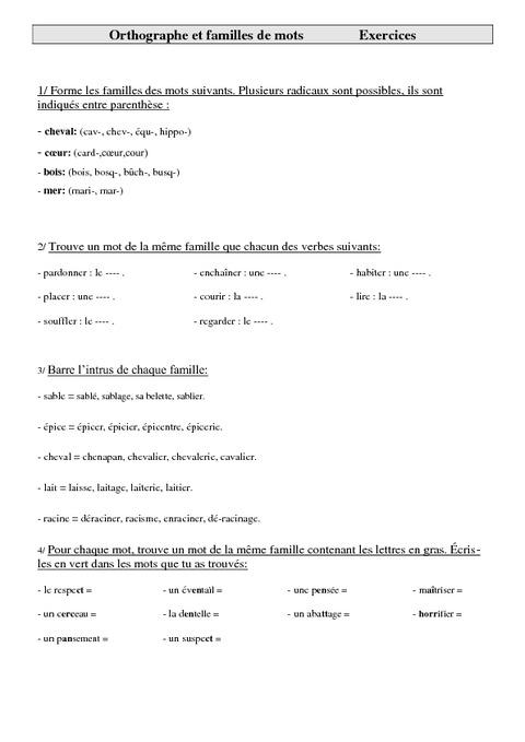 Familles de mots - Cm2 - Exercices - Orthographe - Cycle 3 - Pass Education