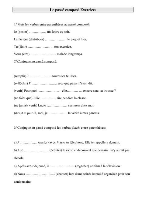 Passé composé - Ce2 - Exercices de conjugaison - Pass ...