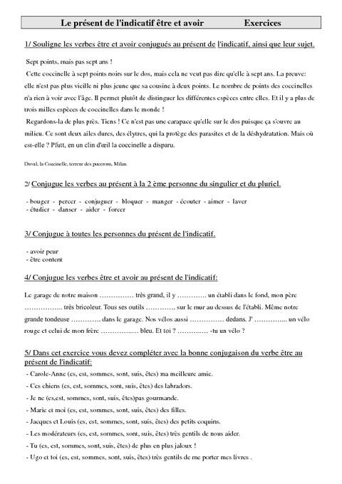 Présent de l'indicatif être et avoir - Exercices - Conjugaison - Cm1 - Français - Cycle 3 - Pass ...