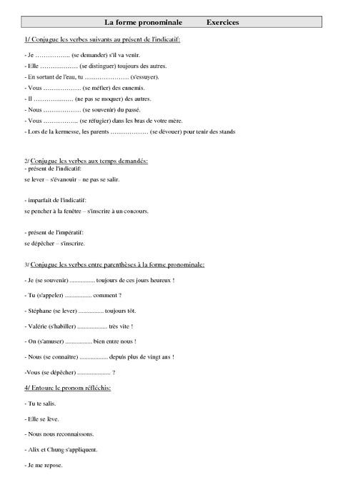 Forme pronominale cm2 exercices conjugaison cycle - Conjugaison cm2 a imprimer ...