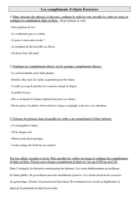Compléments d'objet - COD - COI - Ce2 - Exercices - Pass ...
