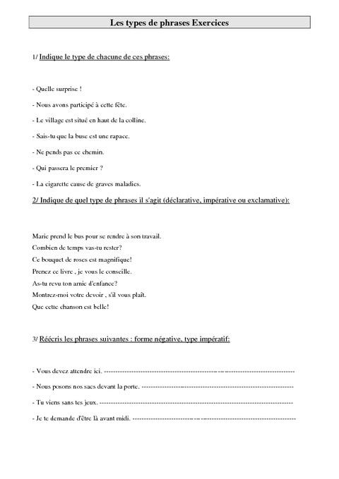 Extrêmement Types de phrases – Leçon – Ce2 – Grammaire – Cycle 3 - Pass Education FB79