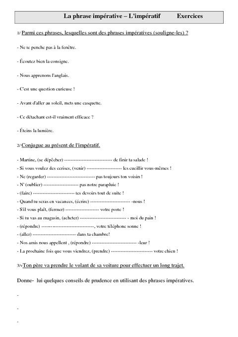 Phrase impérative - Cm1 - Exercices sur l'impératif - Pass Education