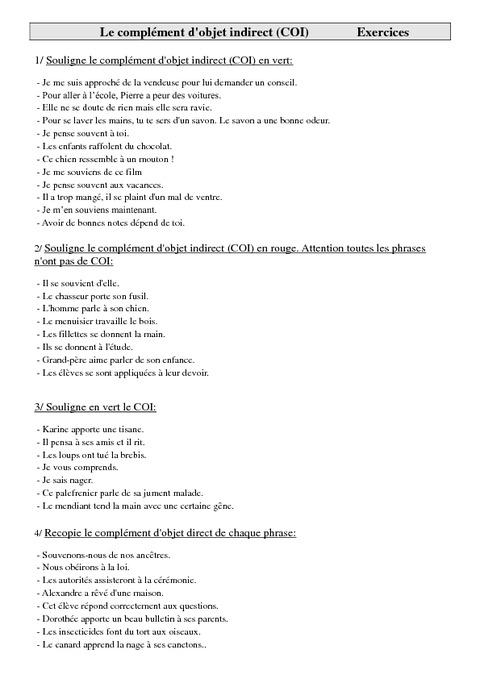 Complément d'objet indirect (COI) - Cm1 - Exercices ...