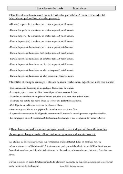 classes de mots le231on cm2 grammaire cycle 3 pass