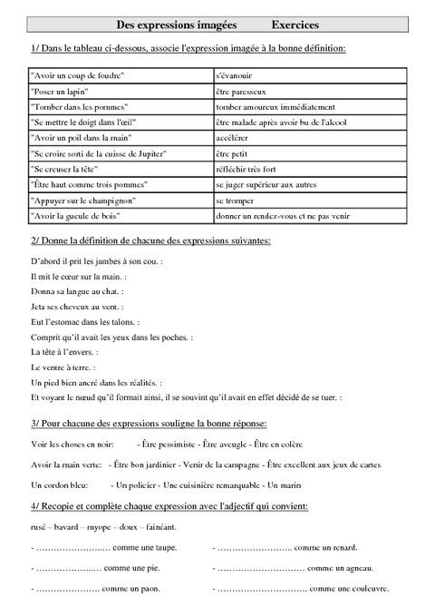 Exercices de vocabulaire cm2 cycle 3 des expressions imag es pass education - Coup de foudre definition ...