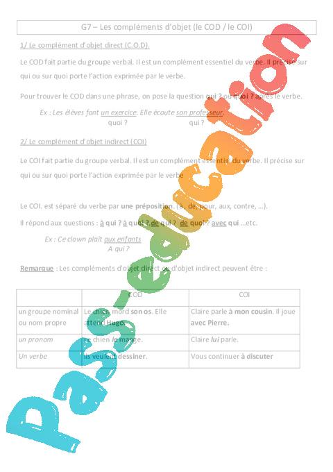 Complements D Objet Lecon Cm1 Grammaire Cycle 3 Pass Education