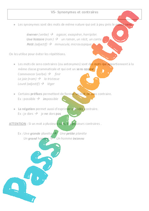 synonymes et contraires le on cm2 vocabulaire cycle 3 pass education. Black Bedroom Furniture Sets. Home Design Ideas