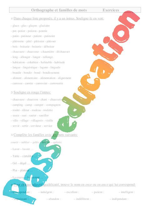 Familles de mots cm2 exercices orthographe cycle 3 pass education - Mot de la meme famille que fleur ...