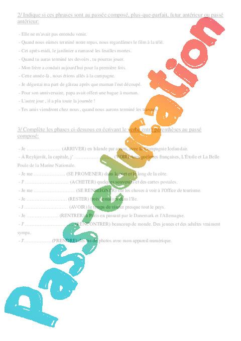 temps compos s de l 39 indicatif cm2 exercices conjugaison cycle 3 pass education. Black Bedroom Furniture Sets. Home Design Ideas