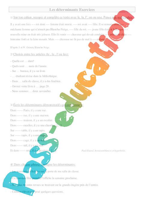 Déterminants - Ce2 - Exercices à imprimer - Pass Education