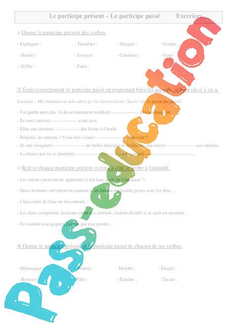 participe pr sent participe pass cm1 exercices conjugaison cycle 3 pass education. Black Bedroom Furniture Sets. Home Design Ideas
