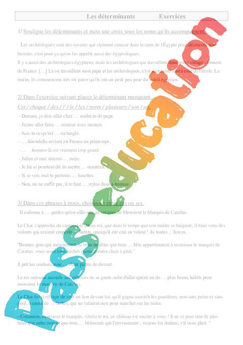Déterminants - Cm1 - Exercices - Pass Education