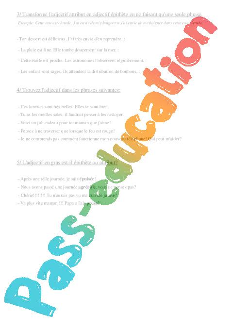 les fonctions des adjectif qualificatif exercice en pdf