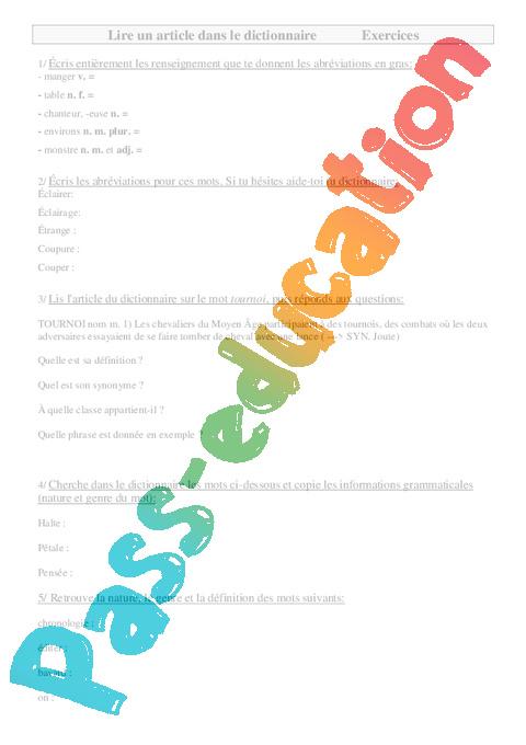 Lire un article dans le dictionnaire ce2 exercices for Dans wiktionnaire