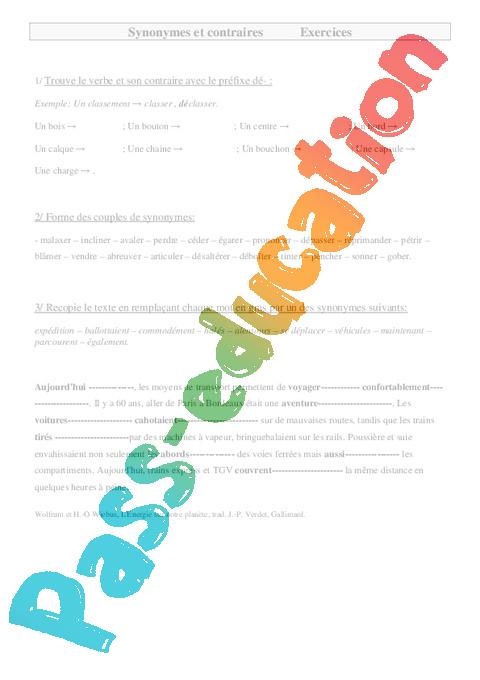synonymes et contraires cm2 exercices vocabulaire pass education. Black Bedroom Furniture Sets. Home Design Ideas