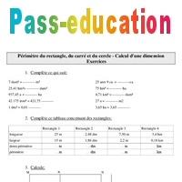 P rim tre du rectangle du carr et du cercle calcul d for Calcul metre carre d une piece