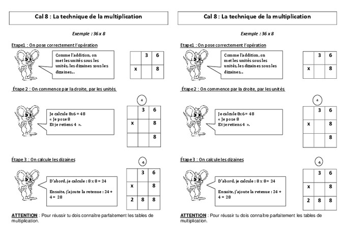 Technique de la multiplication ce2 le on pass education for Mathematique ce2 multiplication