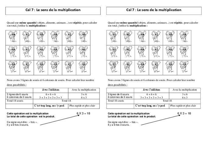 Sens de la multiplication ce2 le on pass education for Mathematique ce2 multiplication