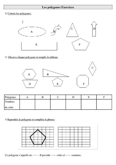 Polygones - Ce2 - Exercices à imprimer - Pass Education