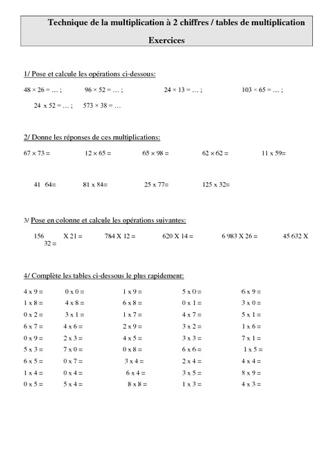 Technique de la multiplication 2 chiffres tables de for Exercice multiplication cm1