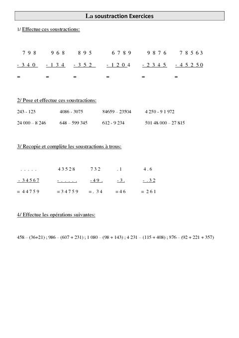 Recopié et complète.... 5ème Mathématiques