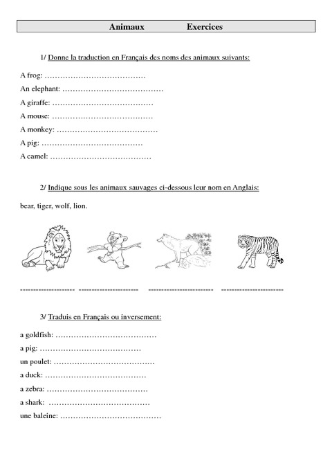 Animaux - Ce2 - Cm1 - Cm2 - Exercices - Anglais - Cycle 3 ...