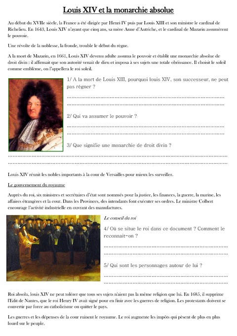 louis xiv et la monarchie absolue exercices les temps