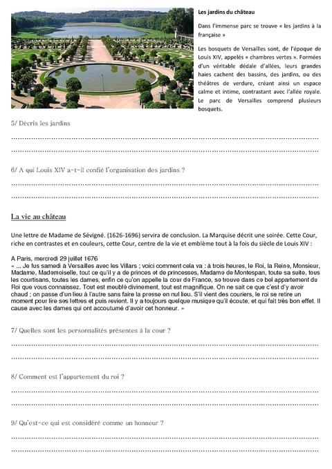Versailles et louis xiv exercices les temps modernes cm1 cycle 3 pass education - Histoire des arts les jardins de versailles ...