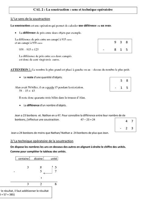 Soustraction sens et technique op ratoire le on cm1 cm2 calculs cycle 3 pass education - Soustraction avec retenue cm1 ...
