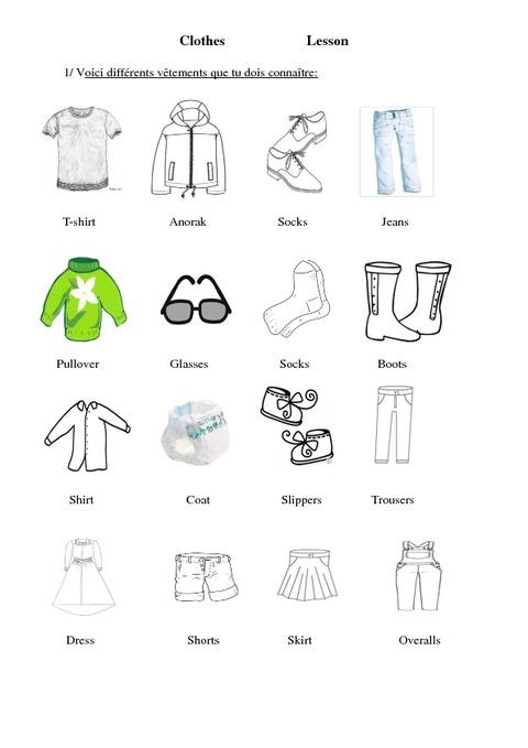 les v tements clothes ce2 cm1 cm2 le on anglais cycle 3 pass education. Black Bedroom Furniture Sets. Home Design Ideas