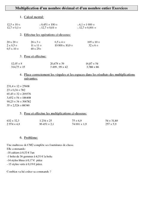 Multiplication d 39 un nombre d cimal et d 39 un nombre entier cm2 exercices calculs cycle 3 - Calcul nombre de parpaing ...