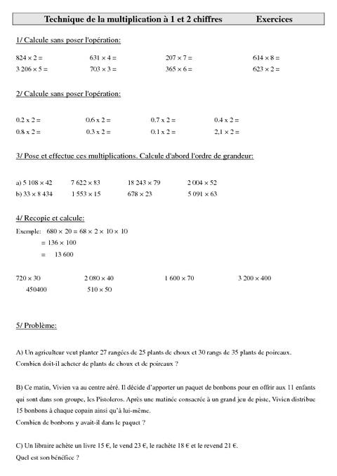 Technique de la multiplication 1 et 2 chiffres cm2 for Exercice multiplication cm2