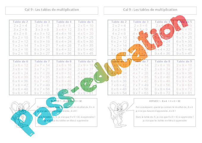 Tables de multiplication ce2 le on pass education for Apprendre multiplication ce2