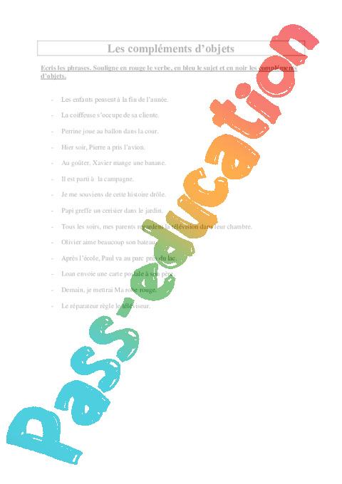 Compléments d'objets - COD - COI - Ce2 - Exercices - Pass ...