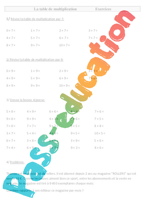 table de multiplication ce2 exercices pass education