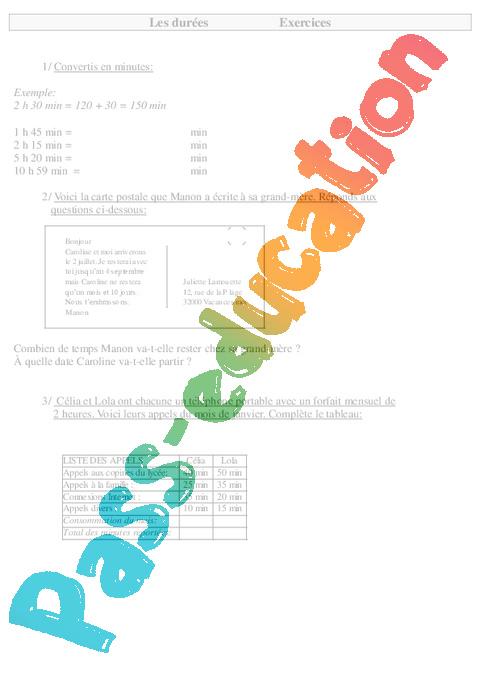 comparer et calculer des durées ce2