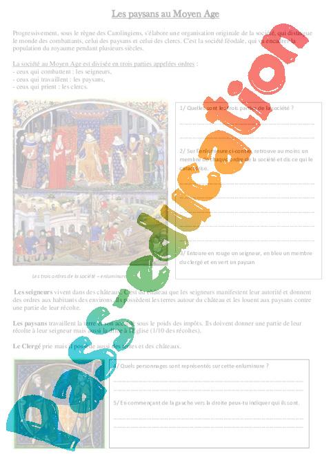 Très Paysans au Moyen Age - Histoire - Moyen âge - Cm1 - Cycle 3 - Pass  XN02