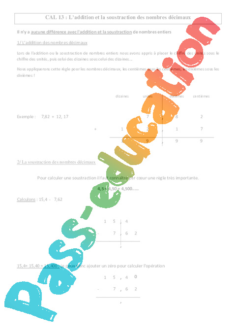 addition et la soustraction des nombres d cimaux le on cm1 cm2 calculs cycle 3 pass. Black Bedroom Furniture Sets. Home Design Ideas