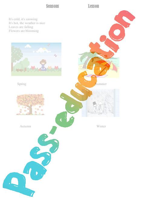 les saisons seasons ce2 cm1 cm2 le on anglais cycle 3 pass education. Black Bedroom Furniture Sets. Home Design Ideas