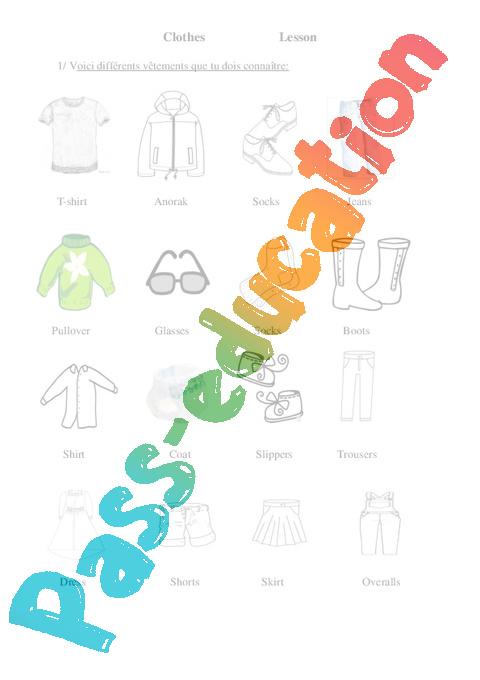 Coloriage Magique Anglais Vetements.Les Vetements Clothes Ce2 Cm1 Cm2 Lecon Anglais Cycle