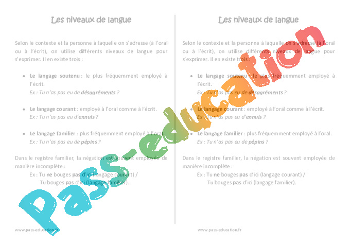 niveaux de langue - le u00e7on  u2013 cm1  u2013 vocabulaire  u2013 cycle 3