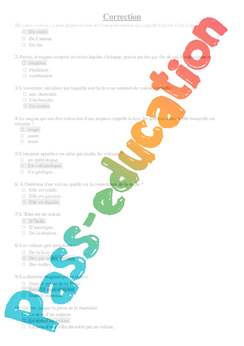 Volcans - Quizz - Exercices – Cm2 – Sciences – Cycle 3 ...