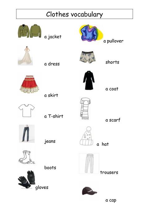 Très Clothes vocabulary - Vocabulaire vêtements - Ce2 - Cm1 - Cm2  VM69