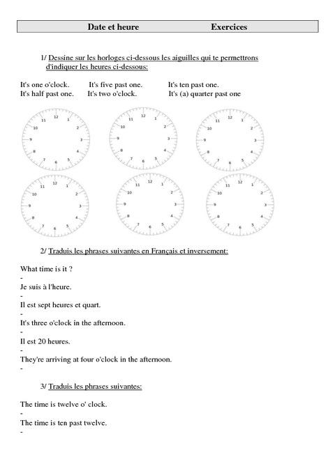 Très Date et heure - Ce2 - Cm1 - Cm2 - Exercices - Anglais - Cycle 3 (2  VM69