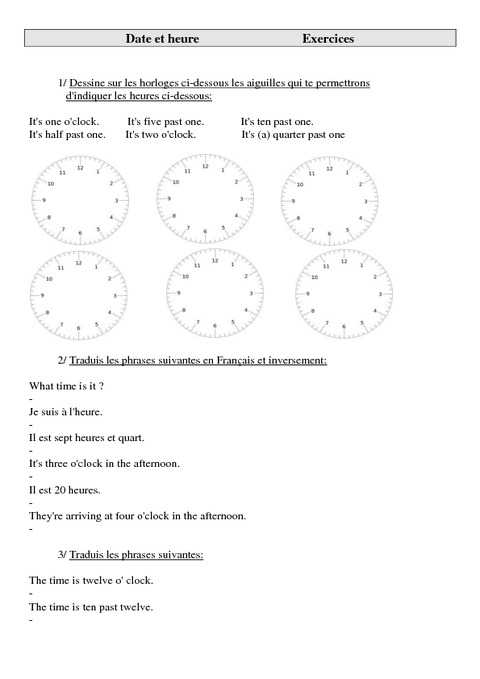 date et heure ce2 cm1 cm2 exercices anglais cycle 3 2 pass education. Black Bedroom Furniture Sets. Home Design Ideas